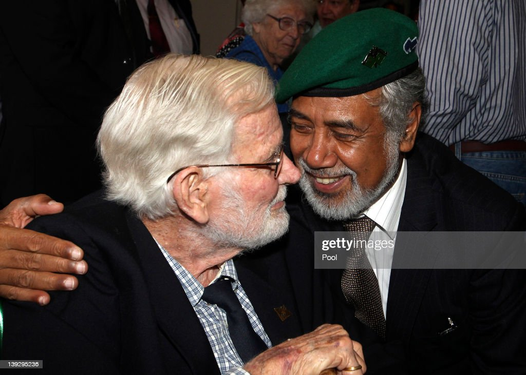 East Timorese Prime Minister <a gi-track='captionPersonalityLinkClicked' href=/galleries/search?phrase=Xanana+Gusmao&family=editorial&specificpeople=223915 ng-click='$event.stopPropagation()'>Xanana Gusmao</a> (R) with a WWII veteran during a visit to the Anzac War Memorial on February 19, 2012 in Sydney, Australia. Mr Gusmao will visit Canberra, Sydney, Darwin, and Melbourne during his six day visit to Australia.