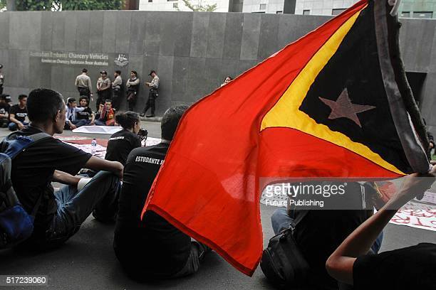 East Timorese students participate in a rally in front of the Australian embassy on March 24 2016 in Jakarta Indonesia Protesters rallied demanding...