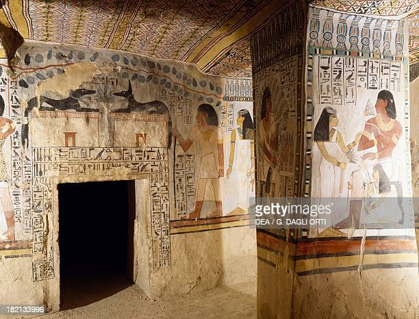 East wall of the burial chamber with the entrance decorated with the figures of the god Anubis Tomb of Sennefer also known as Tomb TT96 Sheikh Abd...