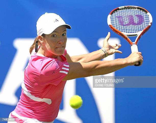 Belgian tennis player Justine Henin in action during her straight sets win over Poland's Agnieszka Radwanska during the International Womens Open in...