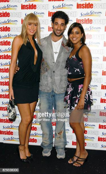 Eastenders actors Jemma Walker Ray Panthaki and Pooja Shah arrive for the Inside Soap Awards 2004 at the Atlantic Bar on Glasshouse Street in central...