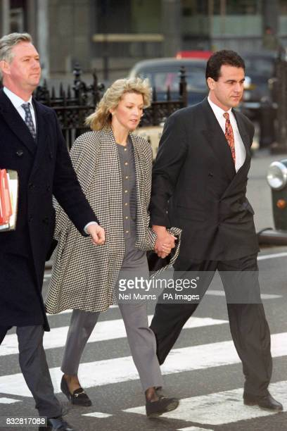 'Eastenders actress Gillian Talyforth arriving at the High Court with her boyfriend Geoffrey Knights where she is suing for libel