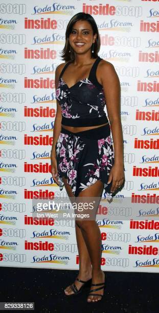 Eastenders actress Pooja Shah arrives for the Inside Soap Awards 2004 at the Atlantic Bar on Glasshouse Street in central London