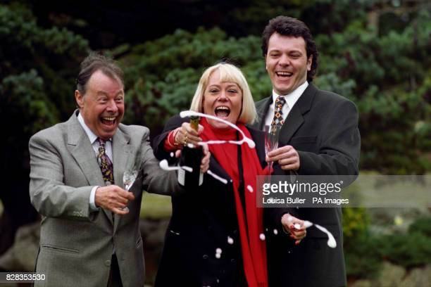 Eastenders' stars Bill Treacher Wendy Richard and Michael French celebrate the announcement that the show will be transmitted three times a week