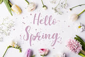 Hello spring phrase and flowers on a white background. Studio shot. Flat lay.