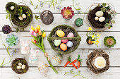 Easter Background on a Rustic Old White Wood Background
