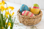 """Easter basket with a handwritten card saying """"Happy Easter"""""""