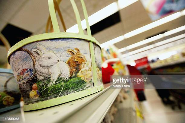 Easter baskets are displayed in a Manhattan store on April 2 2012 in New York City Consumers are projected to spend 11 percent more money than last...