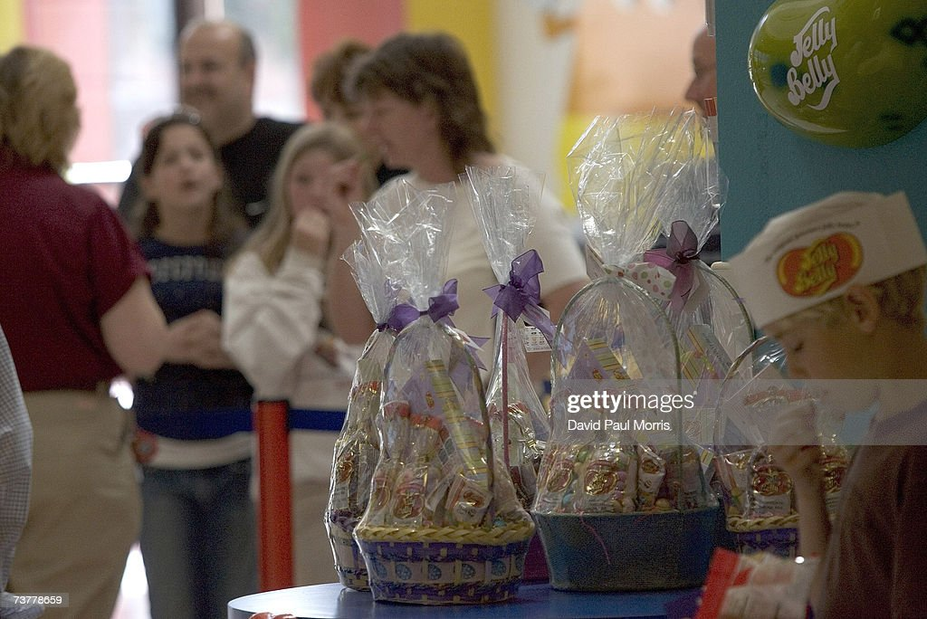Easter baskets are on display at the Jelly Belly Factory April 2, 2007 in Fairfield, California. The Jelly Belly Factory produces approximately 14 billion jelly beans a year. With less than a week before Easter Sunday, retailers stock their shelves full of jelly beans, chocolates, and other traditional candies for Easter.