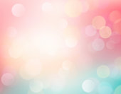 Easter spring multicolored bokeh background.Summer abstract backdrop.Holiday soft wallpaper.Pink blue romantic valentines day illustration.