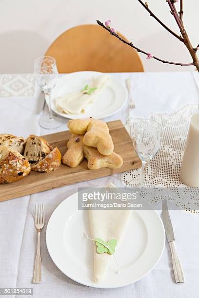 Easter breakfast, set table with fresh bread, Munich, Bavaria, Germany