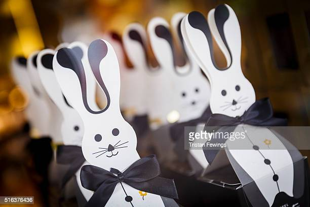 Easter bunnies are displayed in a shop window in Central London on March 18 2016 in London England