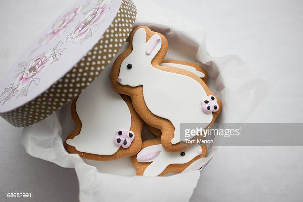 Easter Bunny cookies in round box