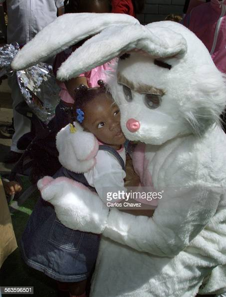 Easter bunny made its way through the hundreds attending the annual Easter and Passover Festival at the Midnight Mission in Los Angeles handing out...