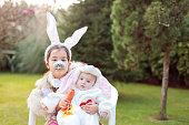 Easter bunny siblings