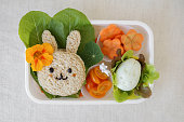 Easter Bunny healthy lunch box, fun food art for kids