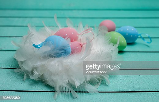 Easter chicken eggs decorated with white fur : Stock Photo