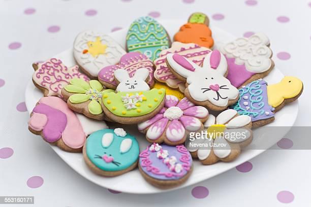 Easter cookies on plate