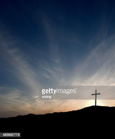 Easter Cross at Sunrise- solitary with Christ gone