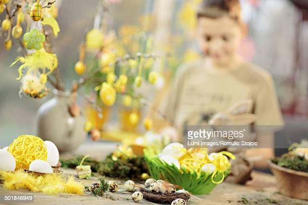 Easter Decoration, Boy In Background, Osijek, Croatia, Europe