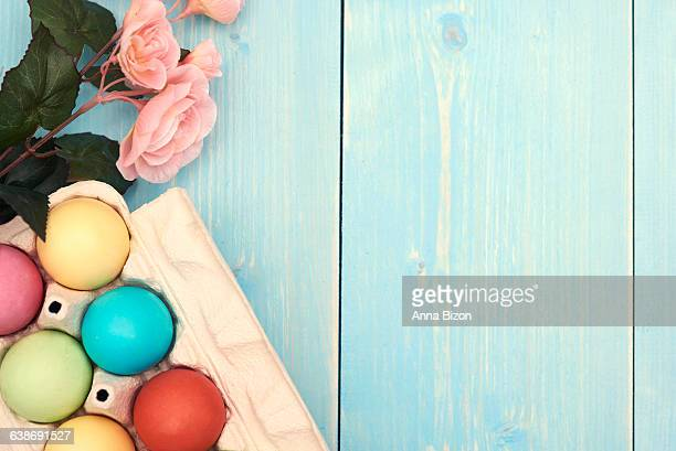 Easter decoration on the blue planks. Debica, Poland