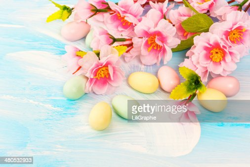 Easter decoration with flowers and eggs. Springtime : Bildbanksbilder