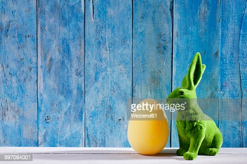 Easter decoration with green Easter bunny and a yellow Easter egg