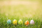 Easter egg background outside with copy space.