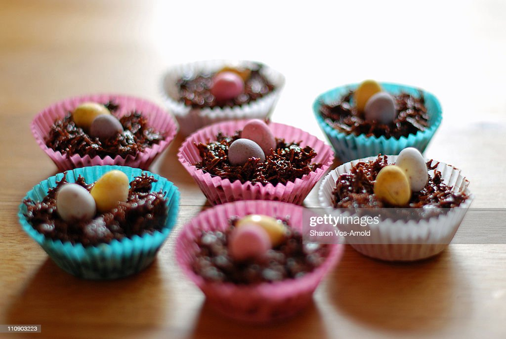 Easter egg cakes in coloured cake cases : Stock Photo