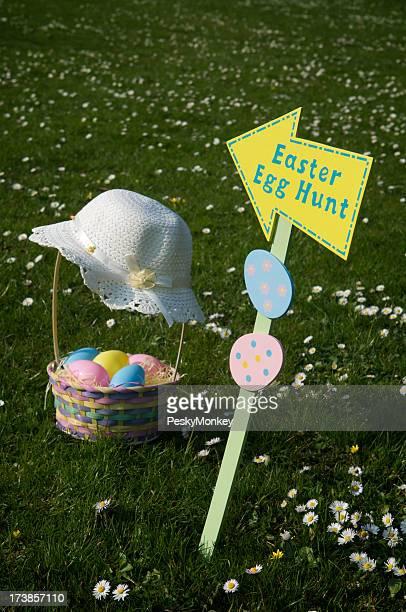 Easter Egg Hut w Bonnet and Basket
