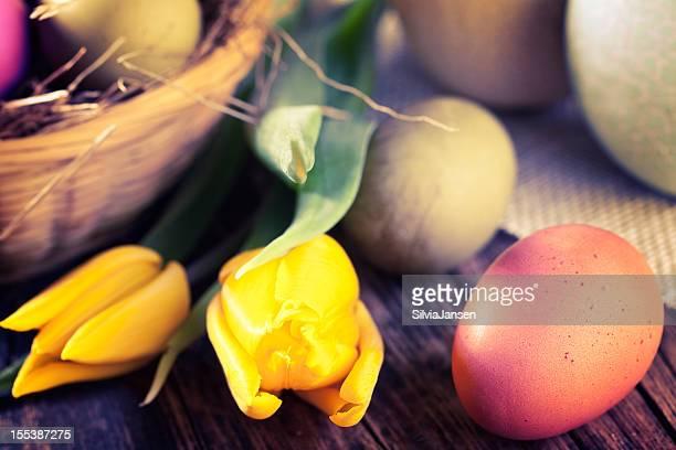 Ostern Eier und Tulpen