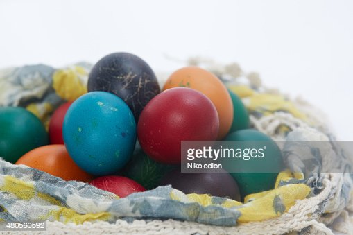 Easter eggs are folded into the fabric : Stock Photo