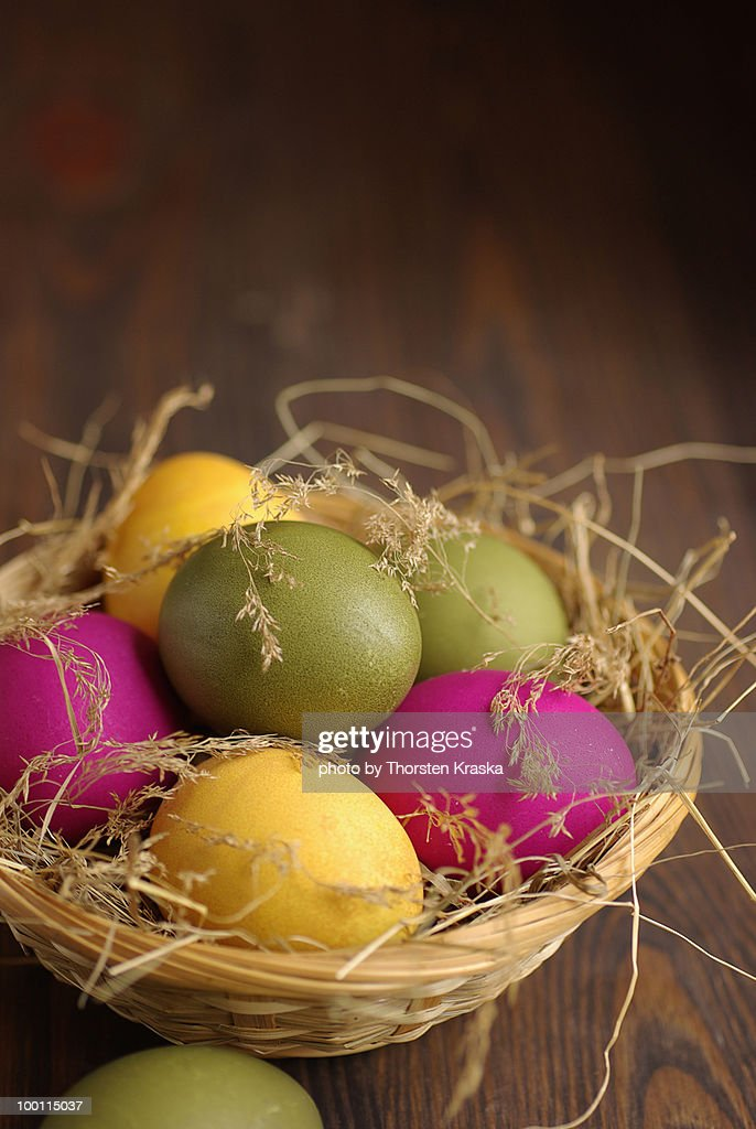 Easter Eggs in a nest : Stock Photo