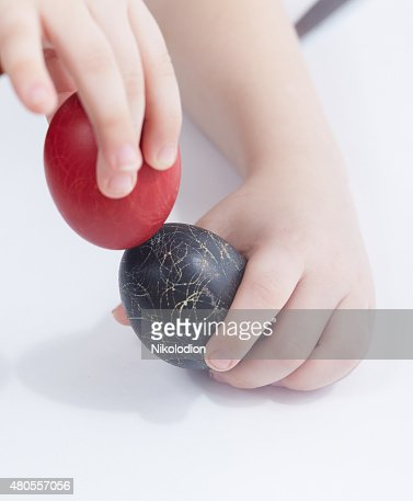 Easter eggs in the children's hands : Stock Photo