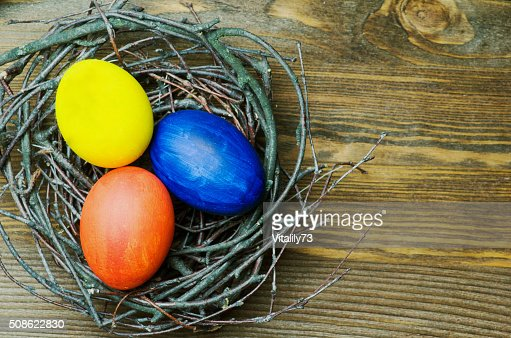 Easter eggs on a wooden table. : Stock Photo