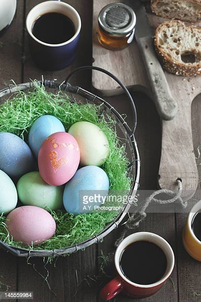 Easter eggs on breakfast table