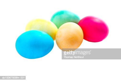 Easter eggs on white background