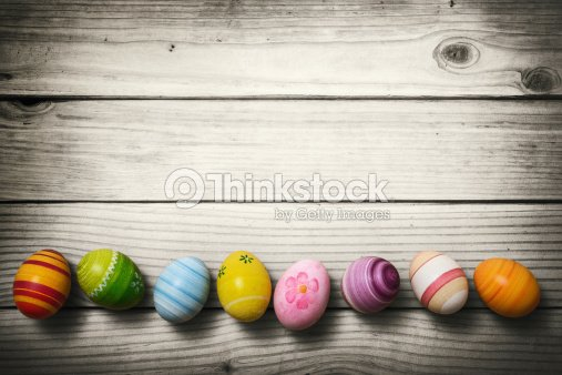 Easter eggs on wooden background : Stock Photo