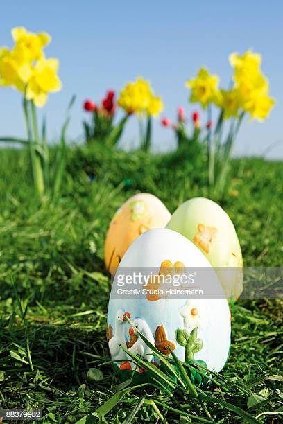 Easter eggs on grass, close-up