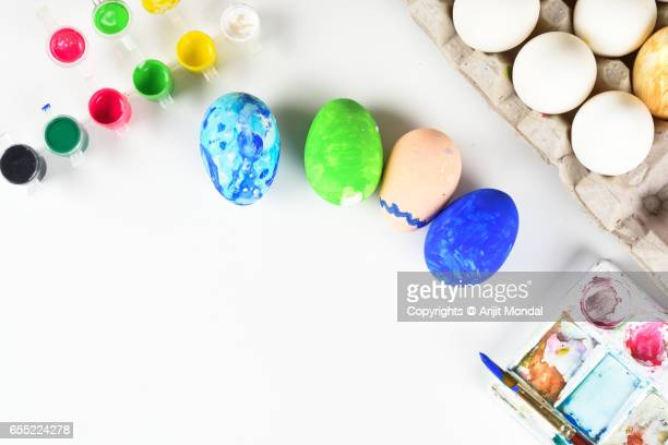 Easter Eggs Preparation for Easter Holidays Celebration Top View