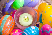 Easter eggs with candle
