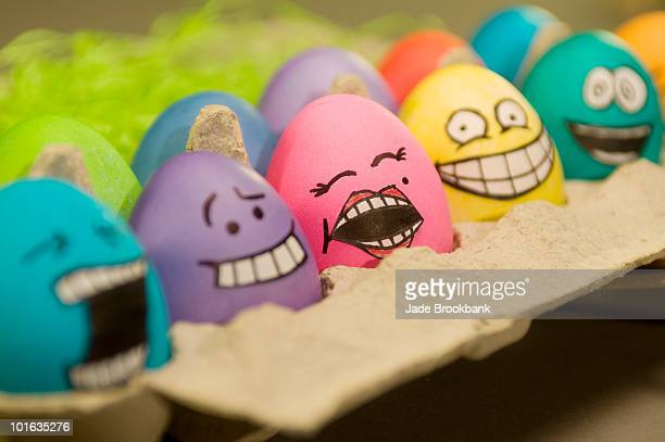Easter eggs with faces