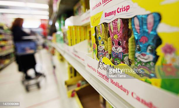 Easter gifts are displayed in a Manhattan store on April 2 2012 in New York City Consumers are projected to spend 11 percent more money than last...
