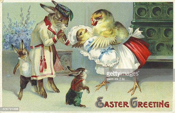'Easter Greeting' Postcard Depicting a Rabbit and Chick Family