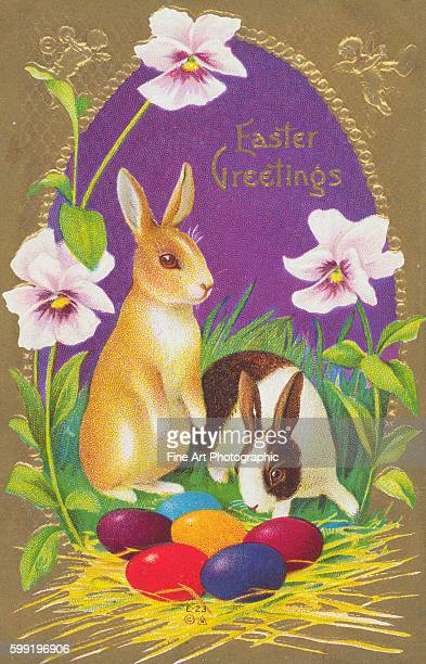 Easter Greetings Postcard with Two Rabbits