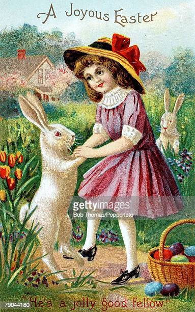 Easter Greetings Postcards A colour illustration of a little girl standing in a field dancing with a hare