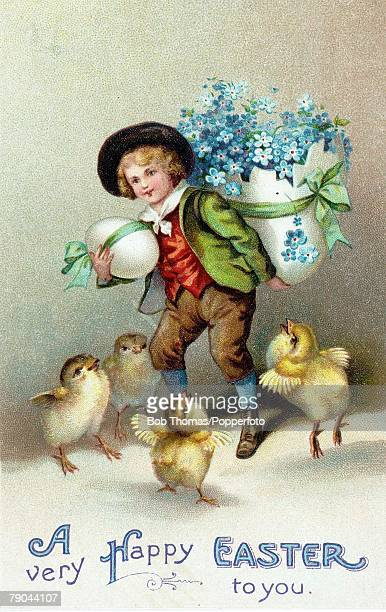 Easter Greetings Postcards A colour illustration of a small boy carrying a large easter egg with some small chicks standing at his side