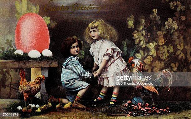 Easter Greetings Postcards A colour illustration of two little girls standing between two chickens with some eggs