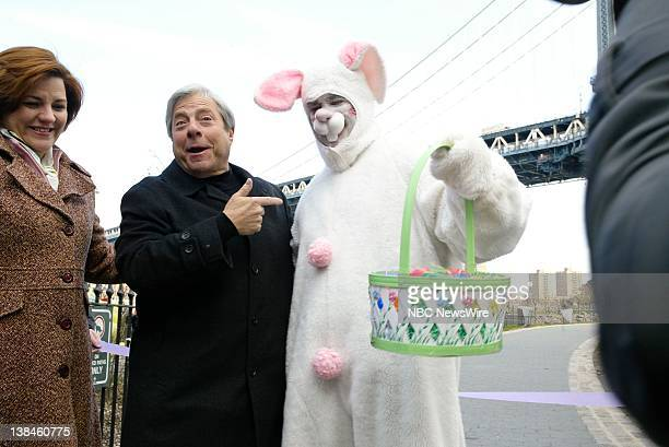 NBC NEWS Easter in New York Pictured City Council Speaker Christine Quinn Brooklyn Borough President Marty Markowitz and The Easter Bunny make an...