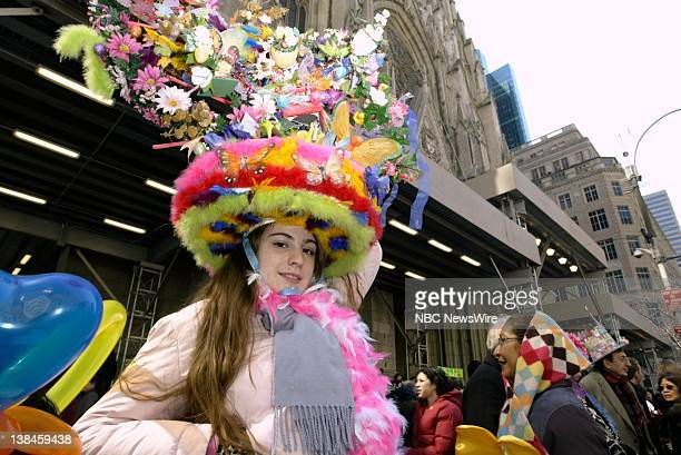 NBC NEWS Easter in New York Pictured New Yorkers dress in their Easter Bonnets and Sunday best in front of the Saint Patrick's Cathedral in New York...